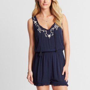 CAPE JUBY Embroidered Ruffle Edge Romper Navy Med